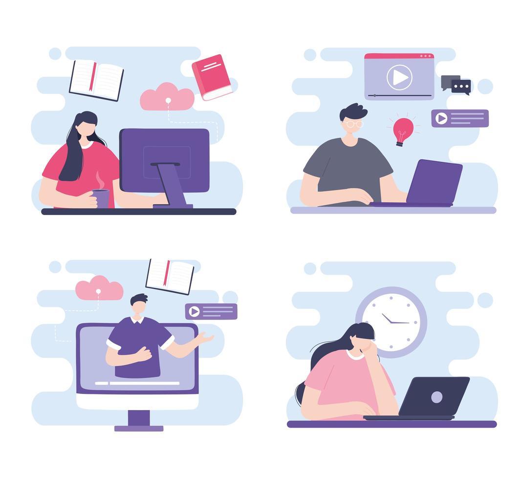 formation en ligne avec des personnes vecteur