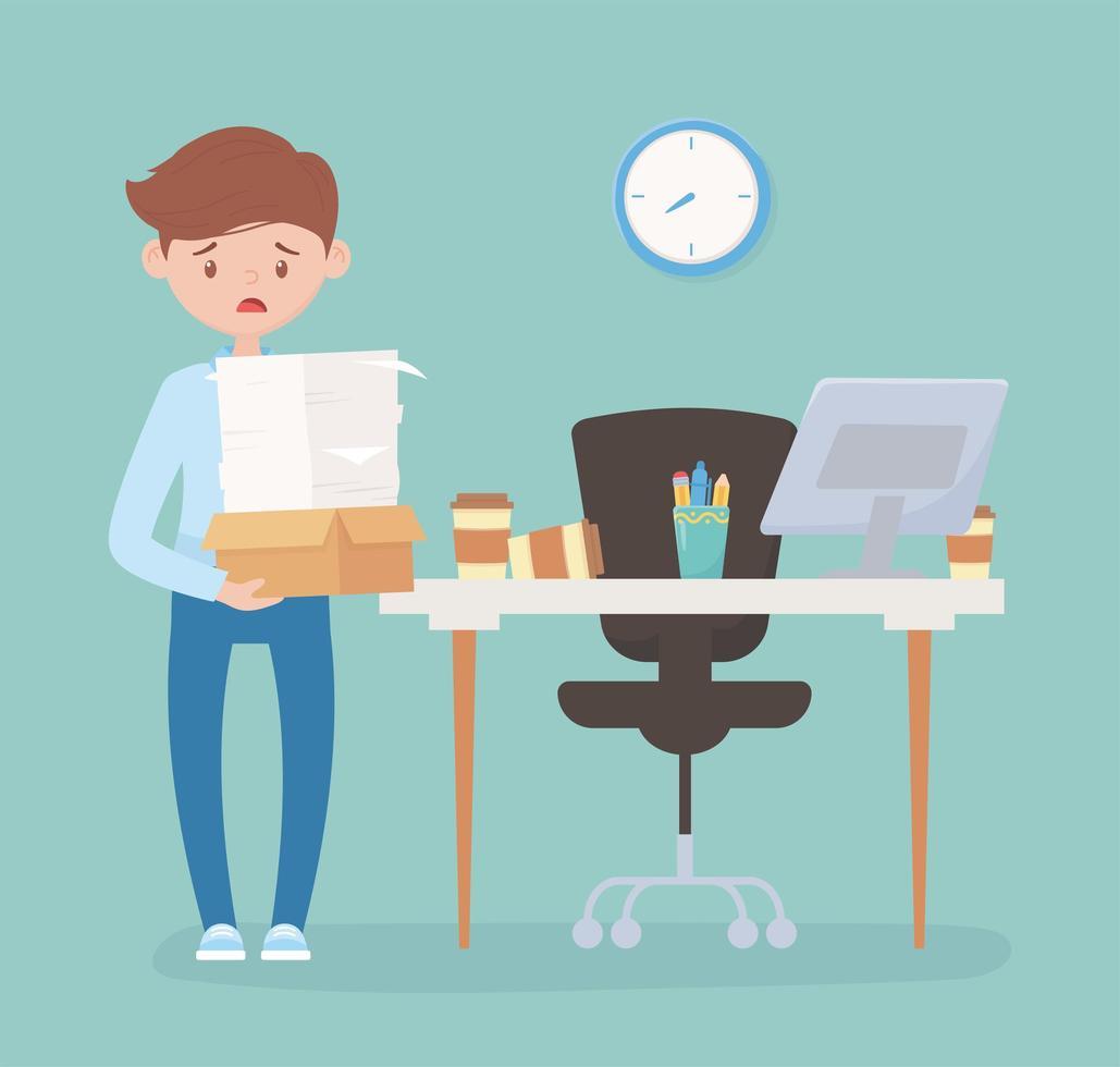 homme d'affaires stressé, frustration au travail de bureau et stress vecteur