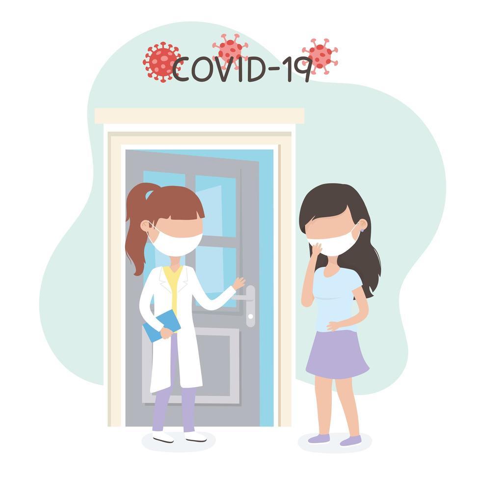 médecin et patient avec des masques pour le coronavirus vecteur