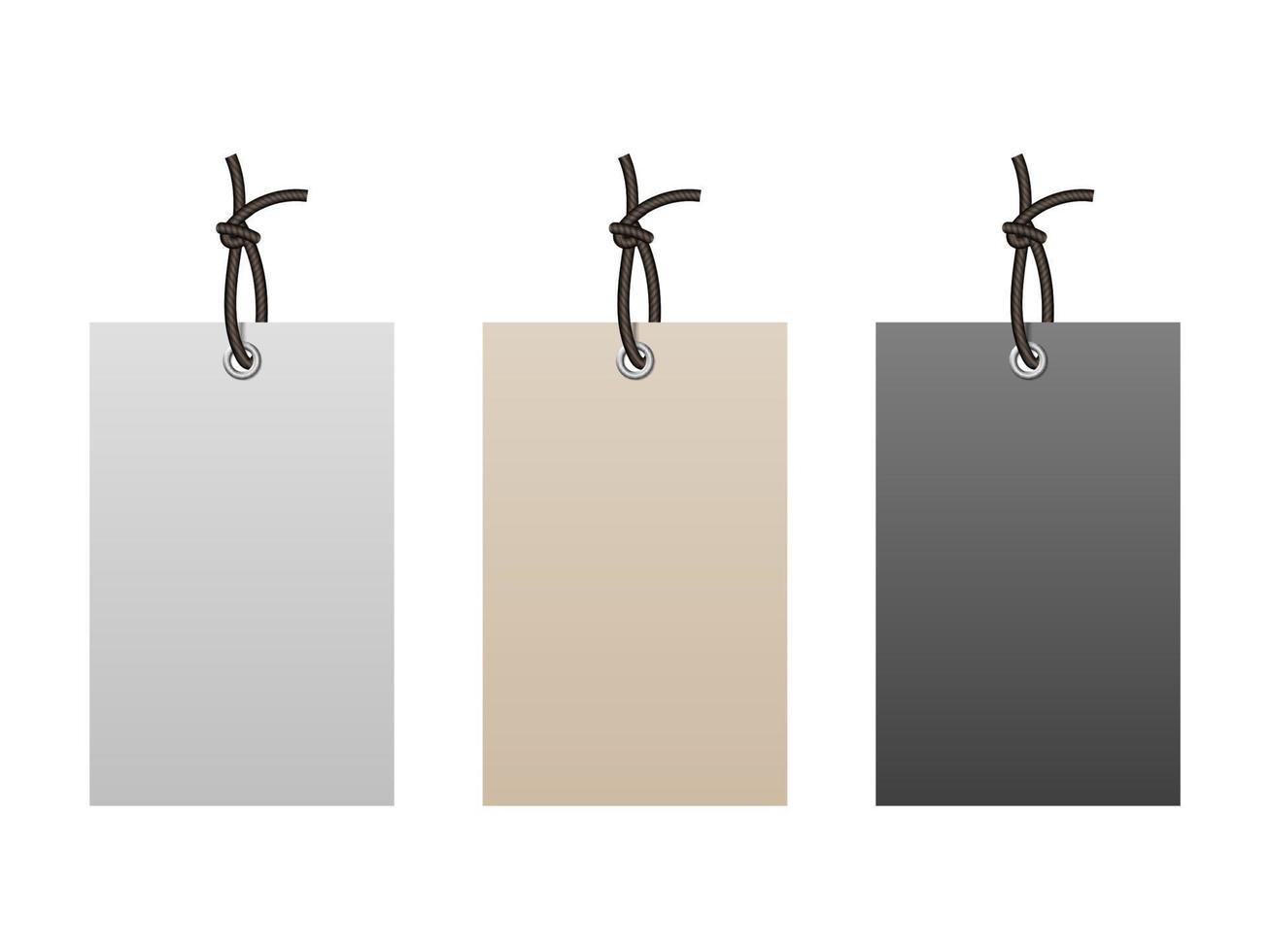 étiquettes de papier vides réalistes avec chaîne isolé sur fond blanc, illustration vectorielle vecteur