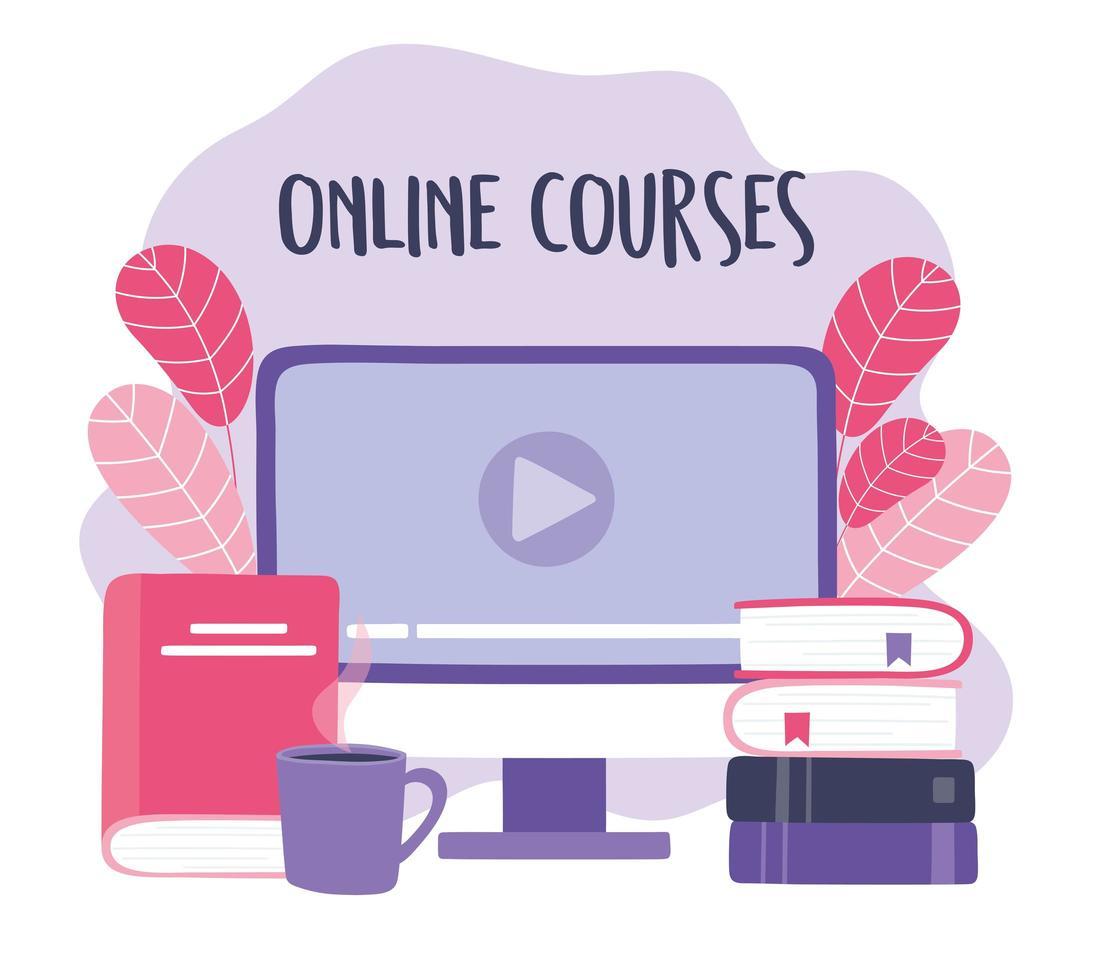 formation en ligne avec ordinateur vecteur