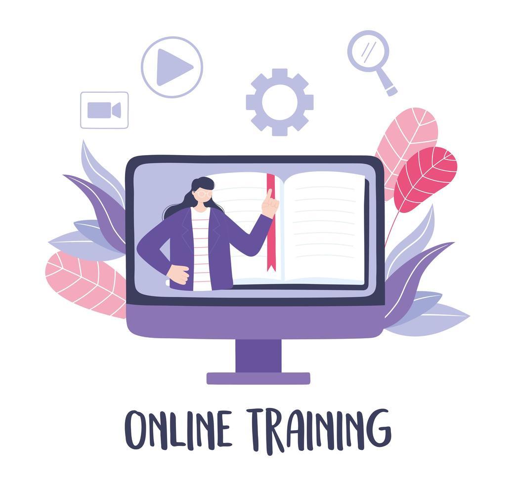 formation en ligne avec une femme dans un cours vidéo vecteur