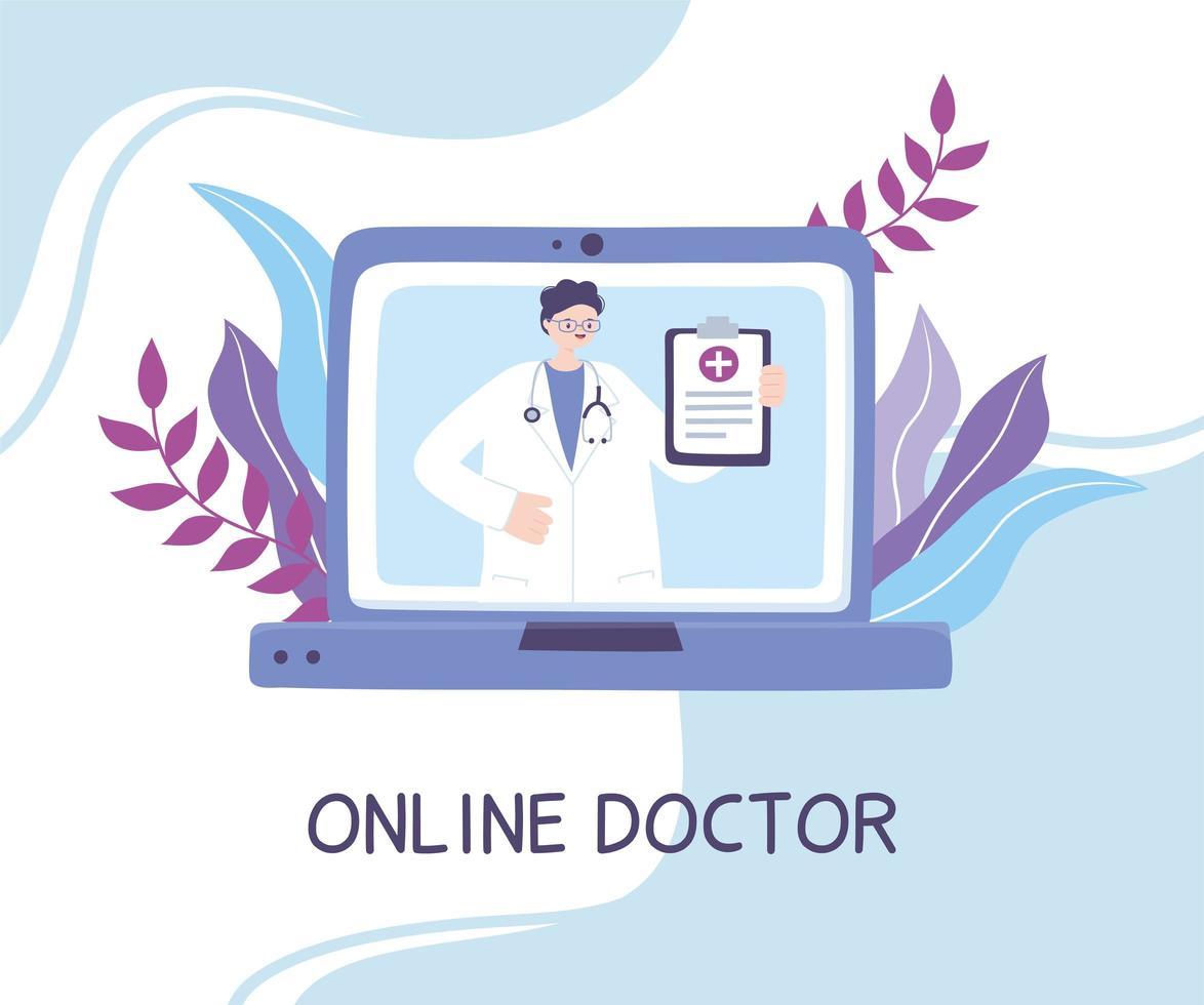 concept de télémédecine avec un médecin sur l & # 39; ordinateur portable vecteur