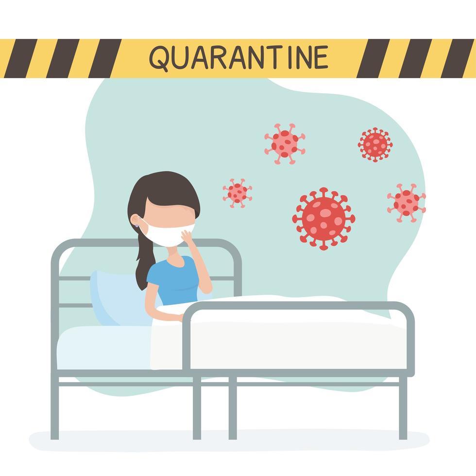femme avec masque facial en quarantaine pour coronavirus vecteur