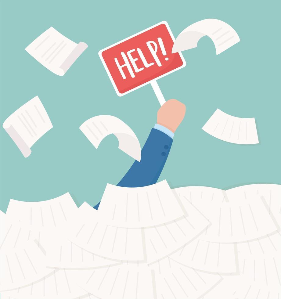 main avec lettrage d'aide, frustration de travail de bureau et stress vecteur