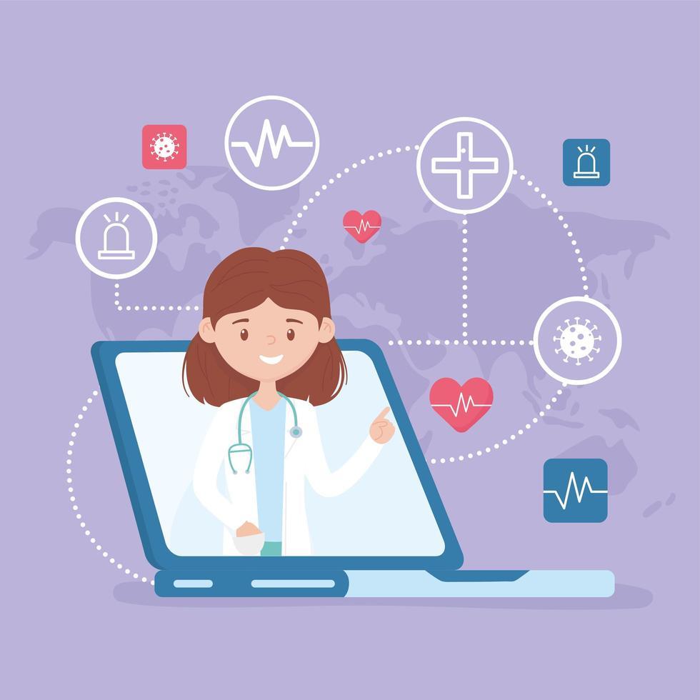soins en ligne avec un médecin sur l'ordinateur portable vecteur