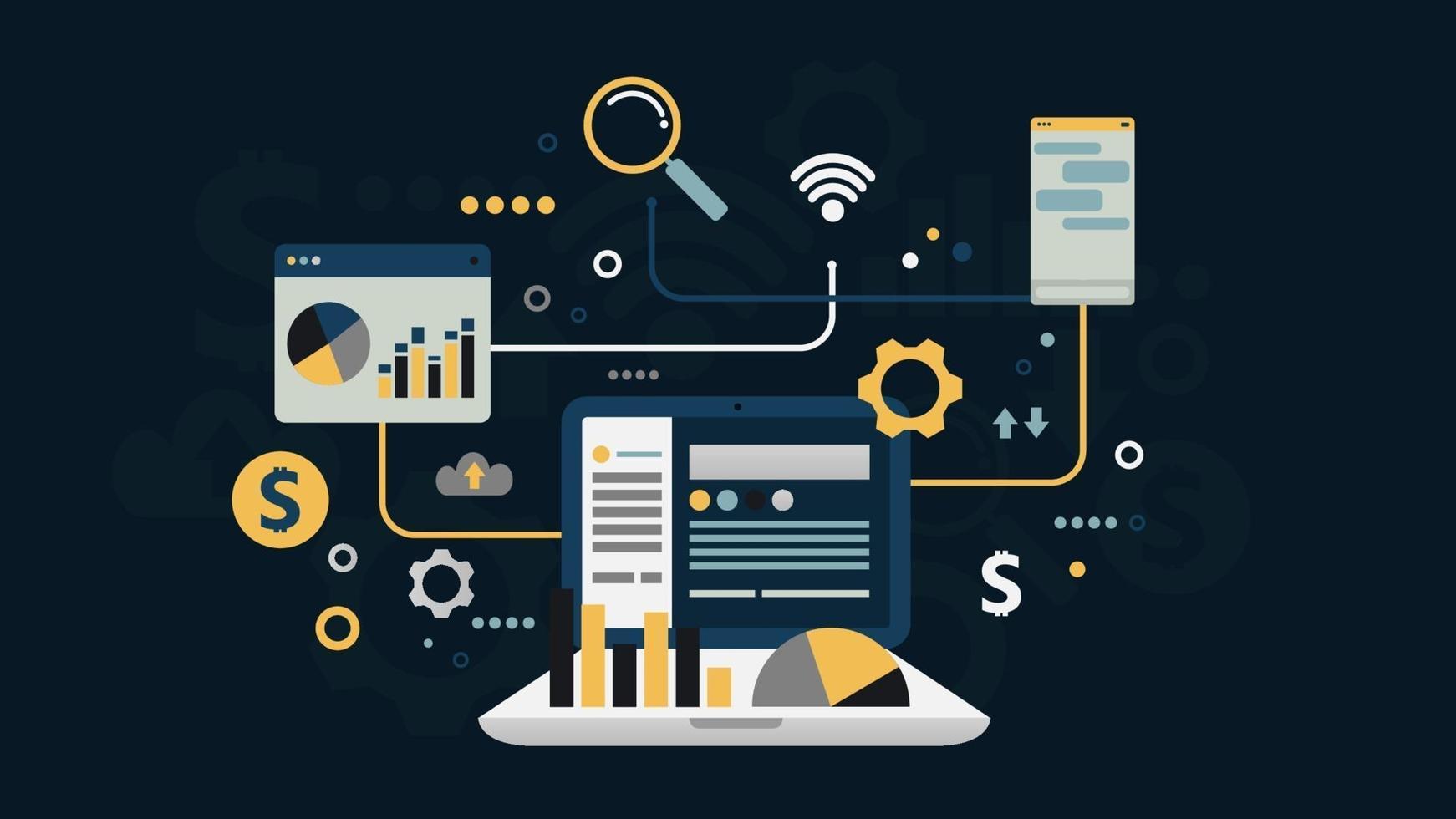 analyse financière du réseau social d'entreprise en ligne et recherche design plat, éléments d'infographie, illustration vectorielle vecteur