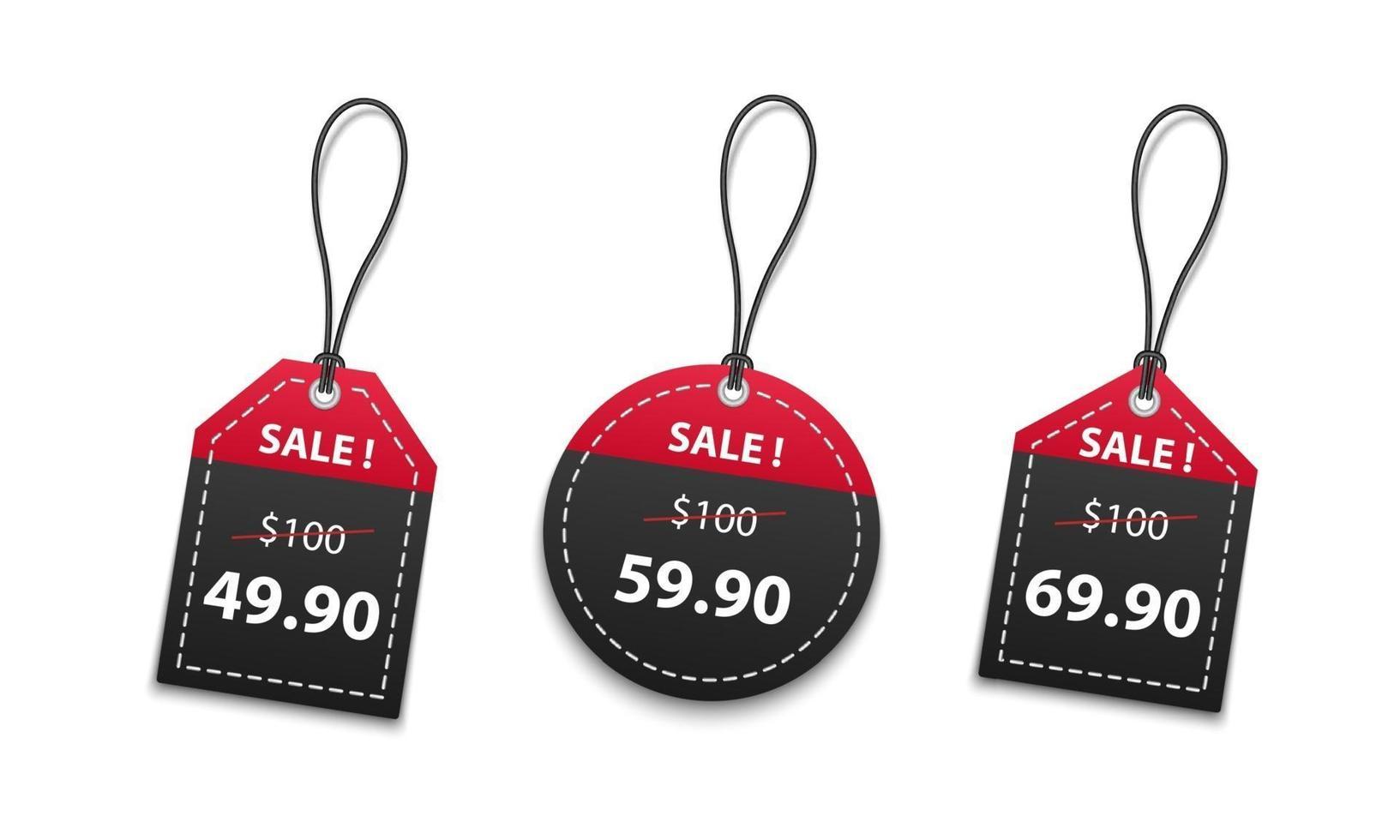 Vente d'étiquettes de prix de papier rouge et noir 3D isolé sur fond blanc, illustration vectorielle vecteur