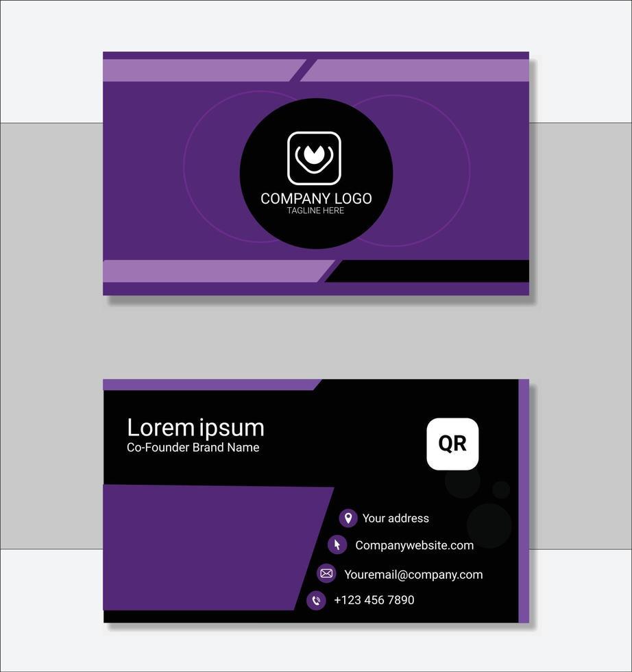 modèle de carte de visite professionnelle violet vecteur