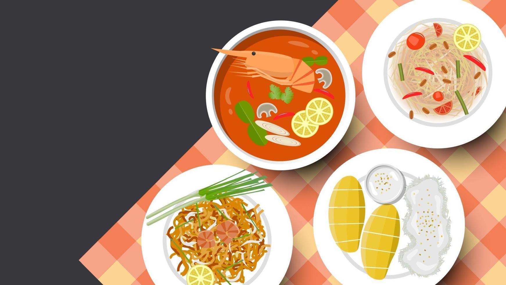 fond de cuisine thaïlandaise traditionnelle et espace de copie pour le texte, illustration vectorielle vecteur