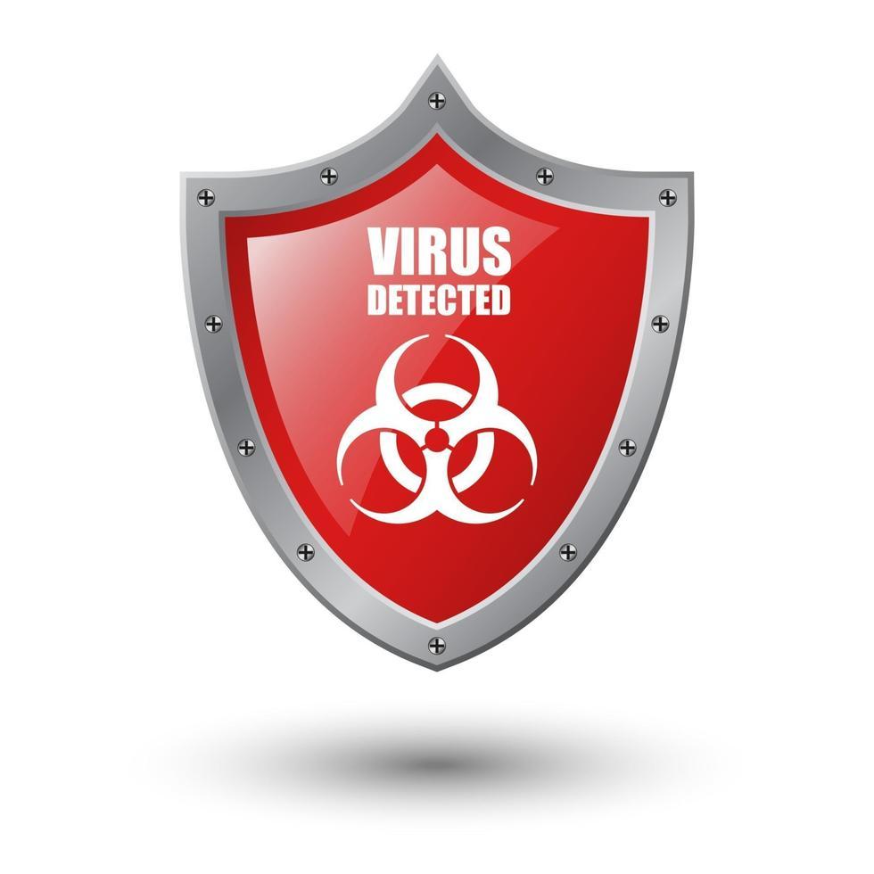 virus détecté sur bouclier rouge isolé sur fond blanc, illustration vectorielle vecteur