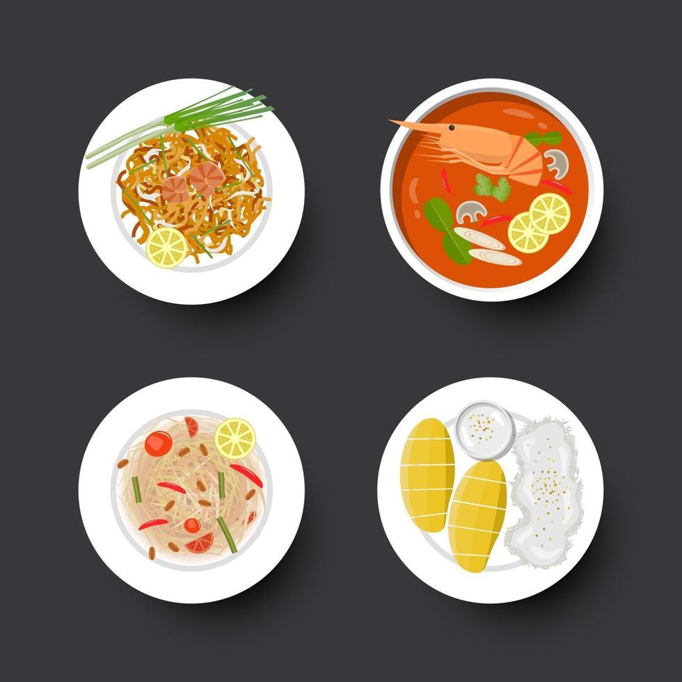 ensemble de cuisine thaï traditionnelle, illustration vectorielle vecteur