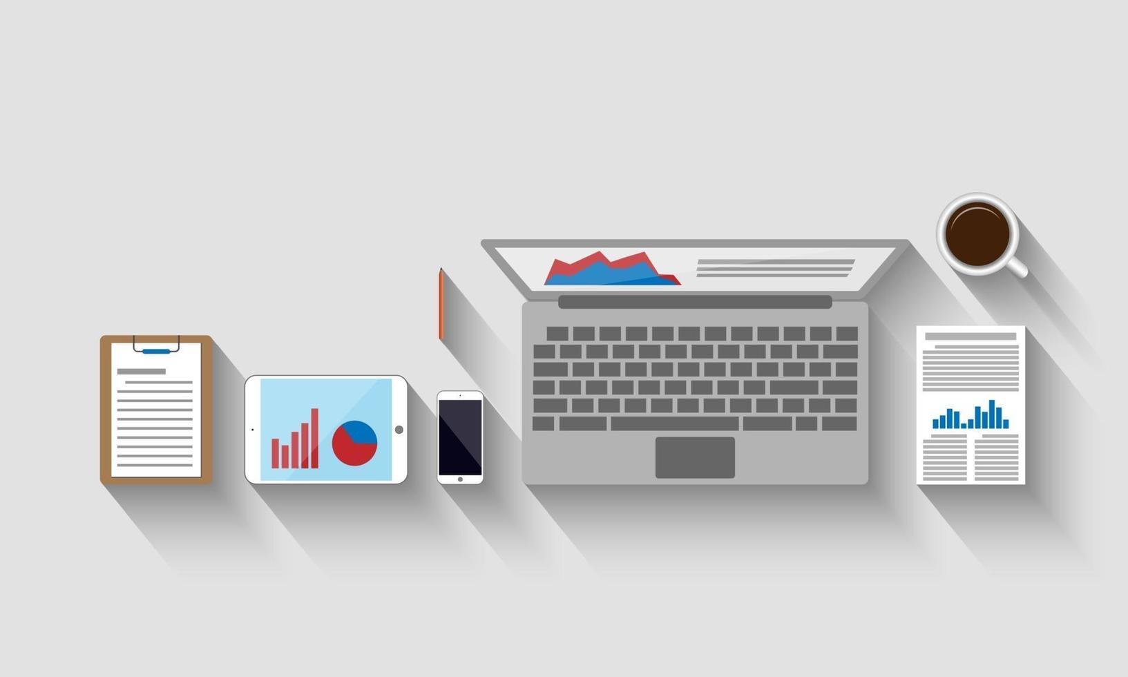 vue de dessus du lieu de travail, concept d'entreprise, illustration vectorielle vecteur