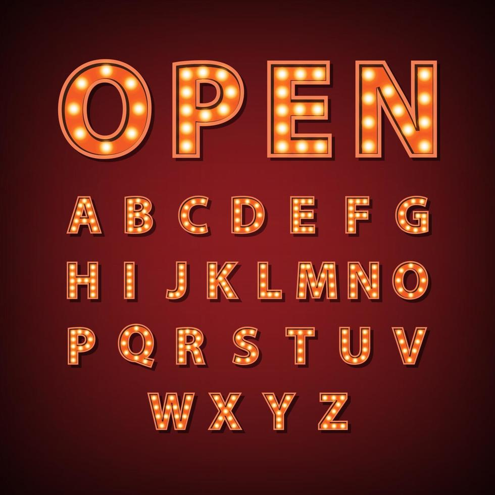 signe de l'alphabet anglais ampoule vintage chapiteau, illustration vectorielle vecteur