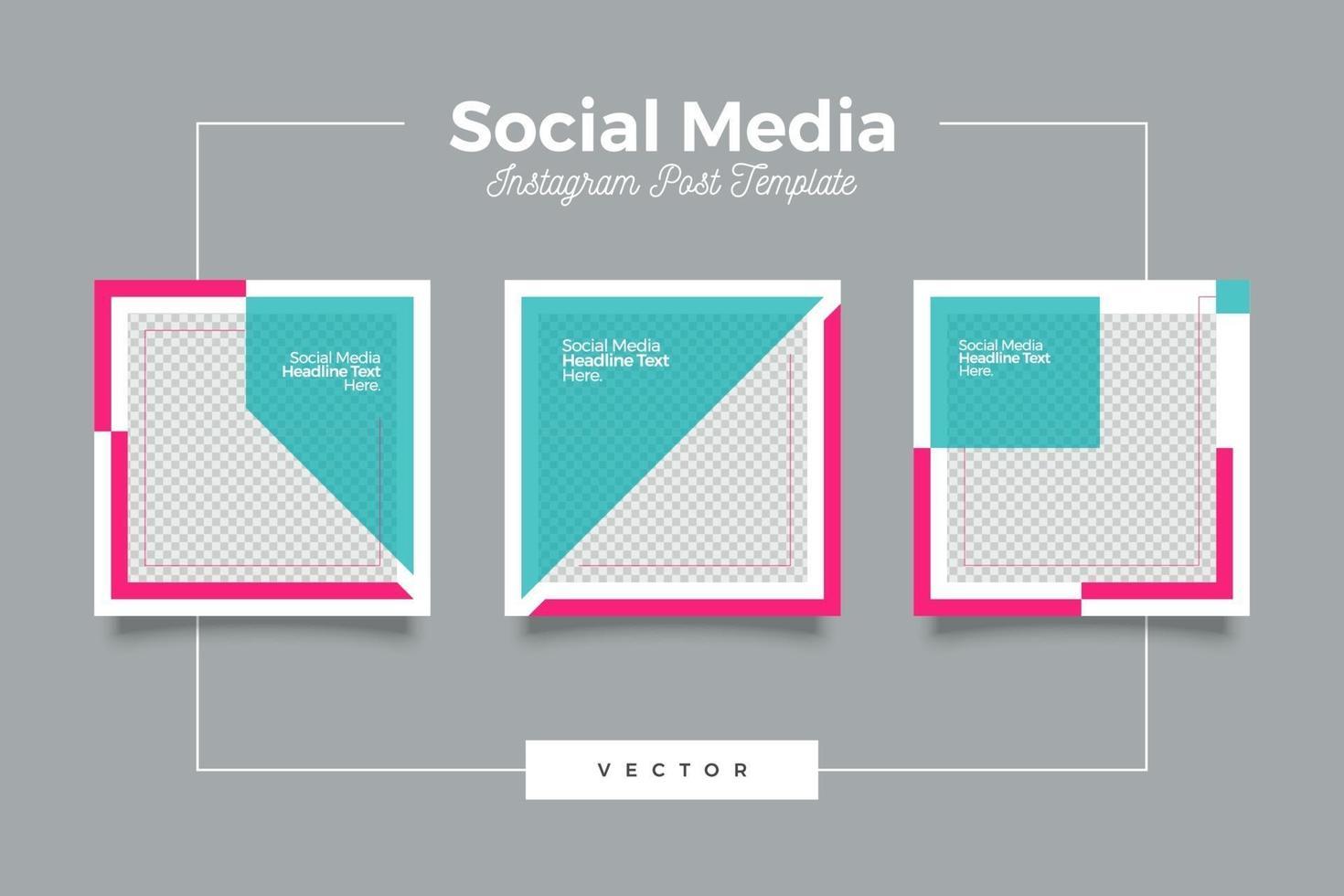 Ensemble de bannière de publication de médias sociaux modernes rose et tosca vecteur