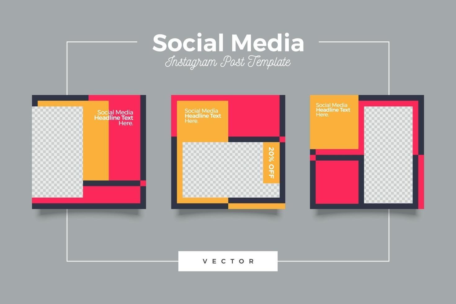 bundle de bannière de publication de médias sociaux modernes de mode vecteur