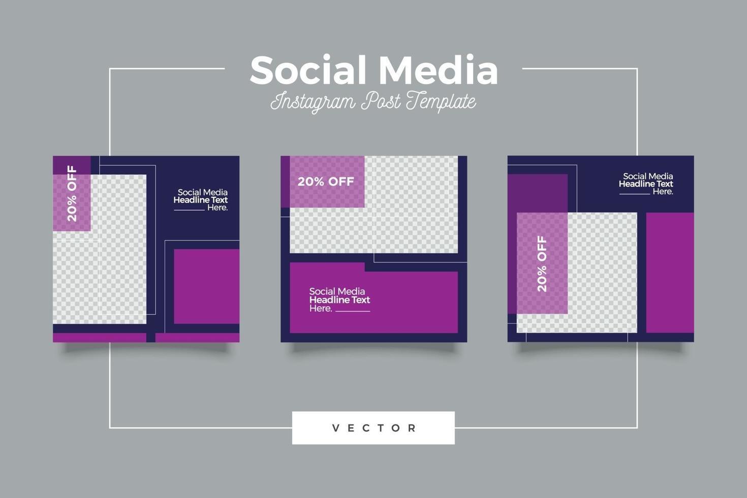 bundle de bannière de publication de médias sociaux modernes violet vecteur
