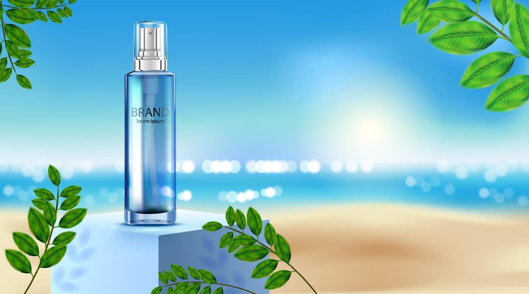 crème de soin de peau de paquet de bouteille cosmétique de luxe, affiche de produit cosmétique de beauté, feuilles et fond de plage vecteur