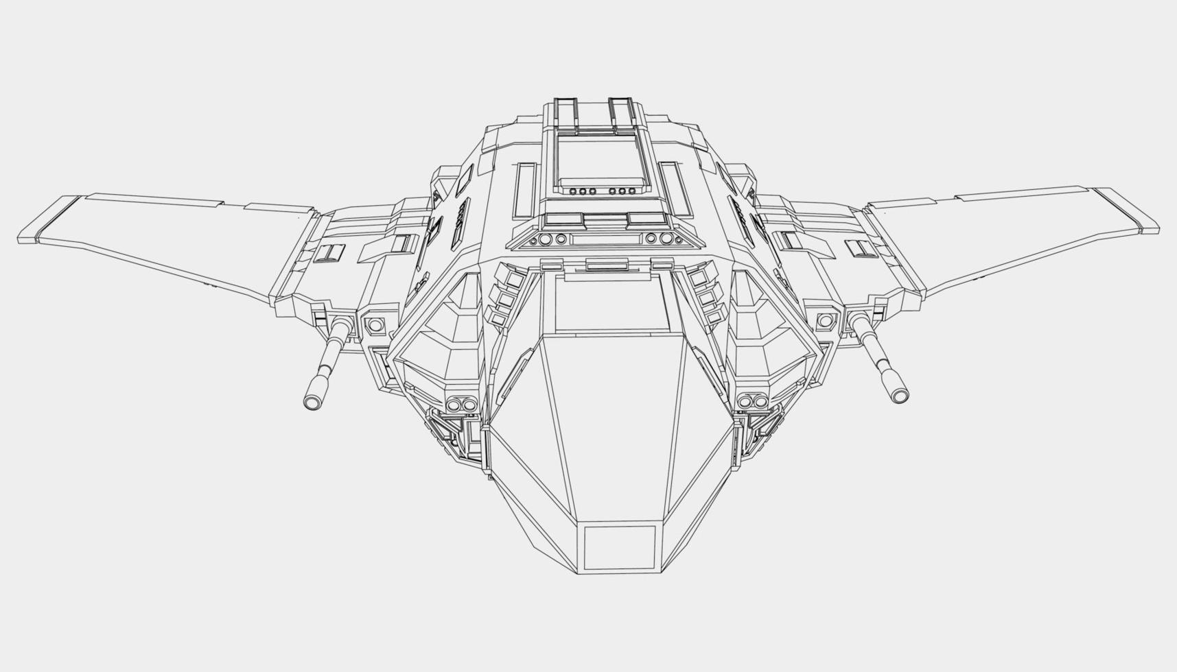 lineart du vaisseau spatial vecteur