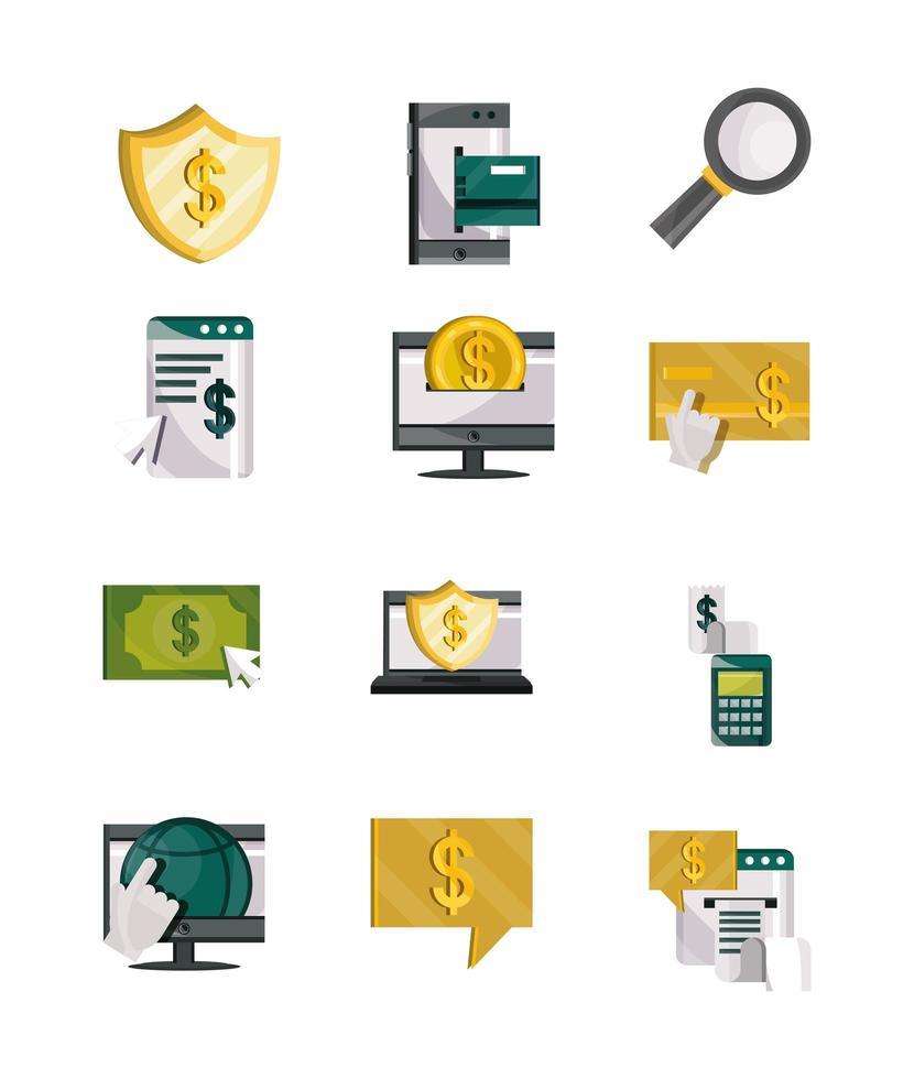 jeu d'icônes de technologie de paiement en ligne, argent et finance vecteur