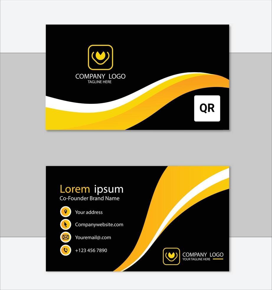 modèle de carte de visite élégant noir et jaune vecteur