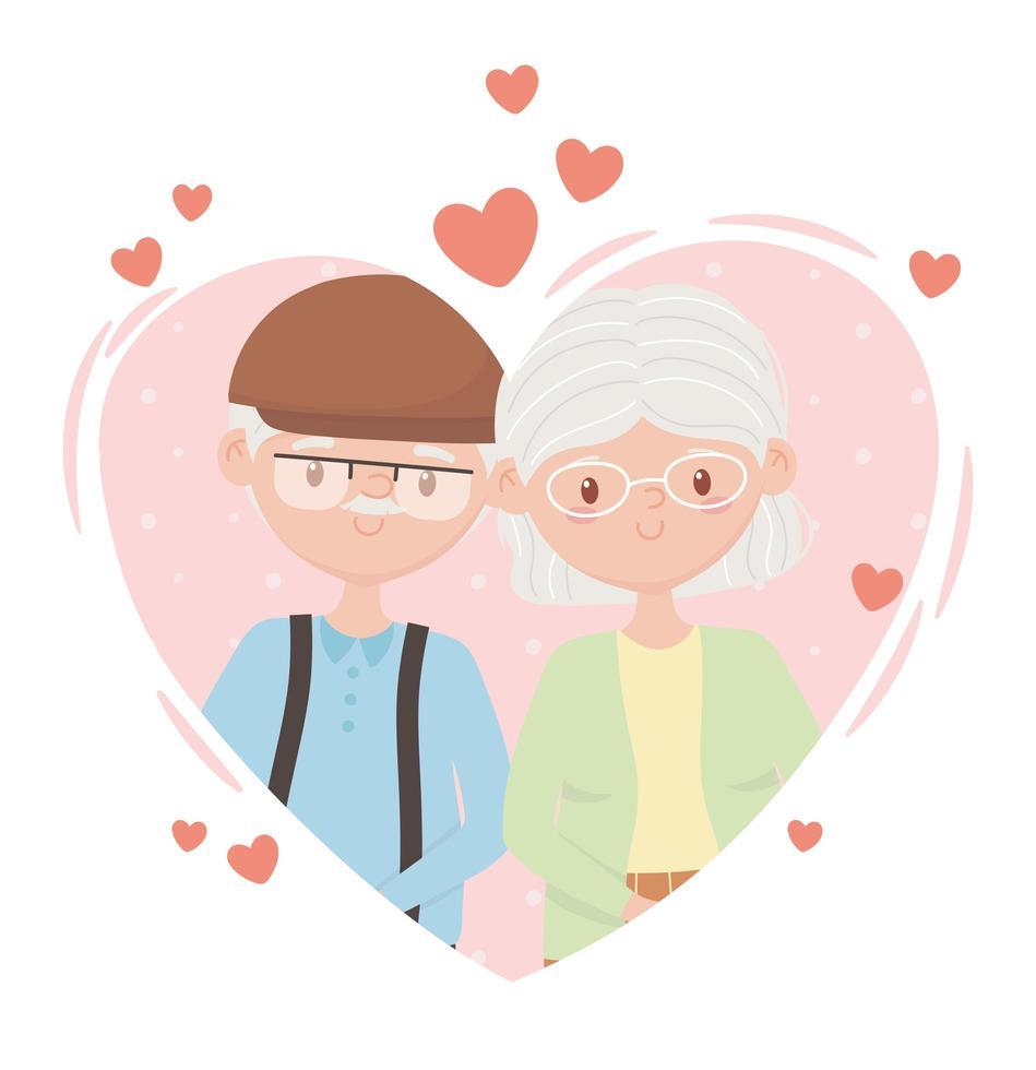 joli couple de personnes âgées amoureux vecteur
