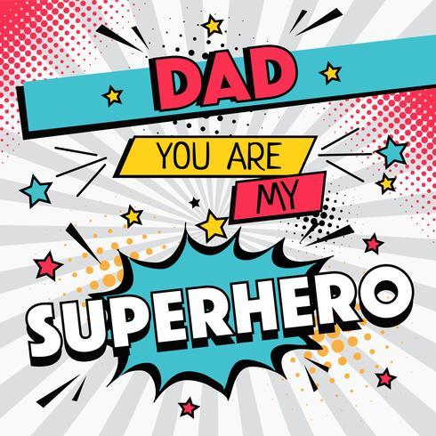 Vecteur de typographie papa super-héros