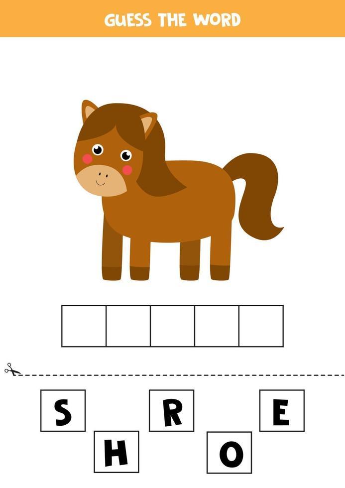 jeu d'orthographe pour les enfants. cheval de ferme de dessin animé. vecteur