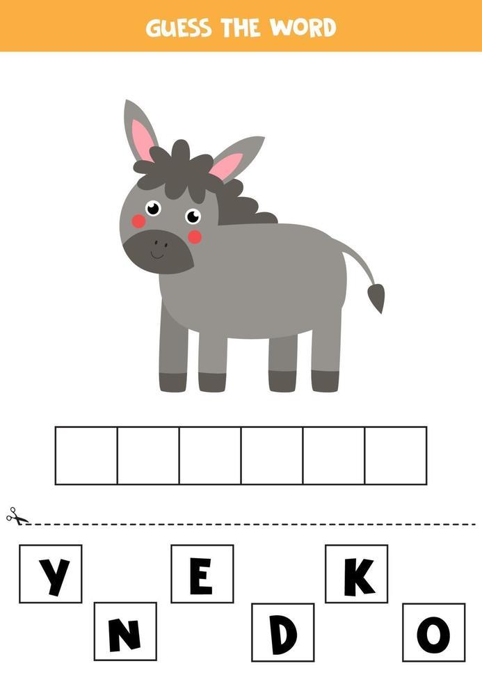 épelez le mot âne. illustration vectorielle d'âne mignon. jeu d'orthographe pour les enfants. vecteur