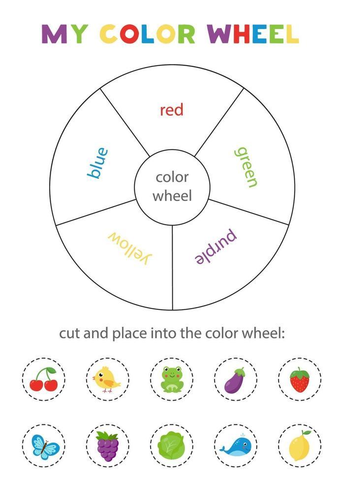 ma roue chromatique. jeu éducatif pour apprendre les couleurs primaires. vecteur