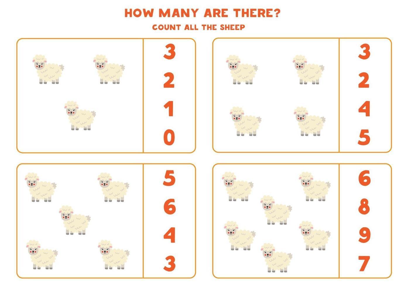 jeu de comptage avec des moutons de la ferme. feuille de calcul mathématique. vecteur