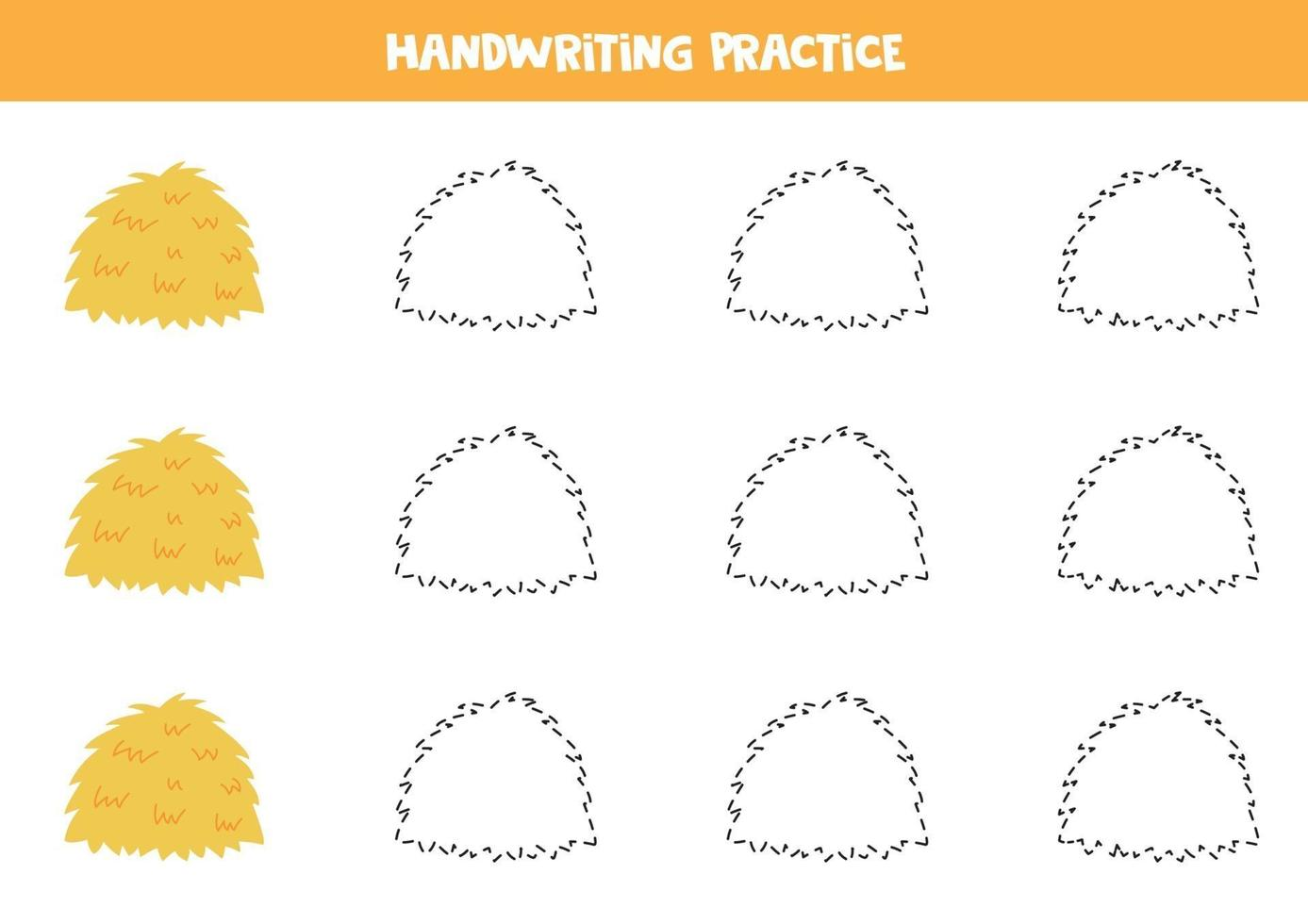 tracez les lignes avec une botte de foin. pratique de l'écriture. vecteur