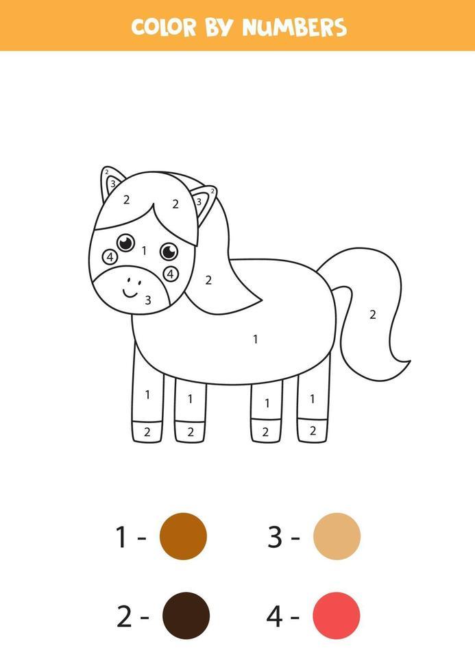 couleur cheval mignon par numéros. feuille de travail sur les animaux de la ferme. vecteur