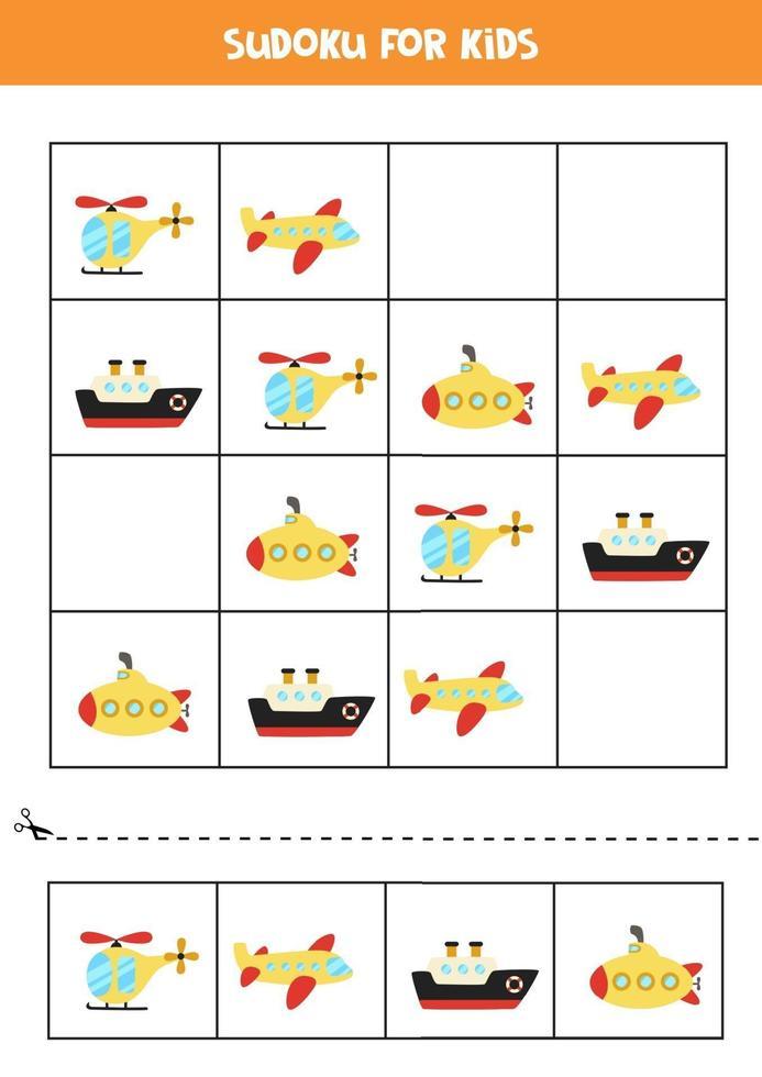 jeu de sudoku avec des moyens de transport de dessins animés. vecteur