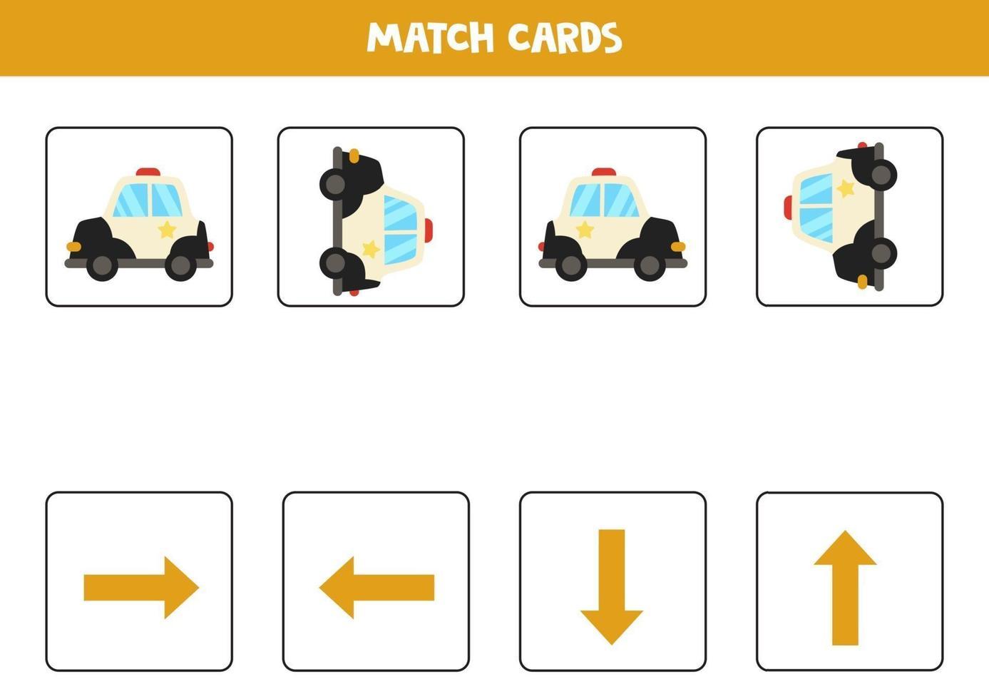 gauche, droite, haut ou bas. orientation spatiale avec voiture de police de dessin animé. vecteur