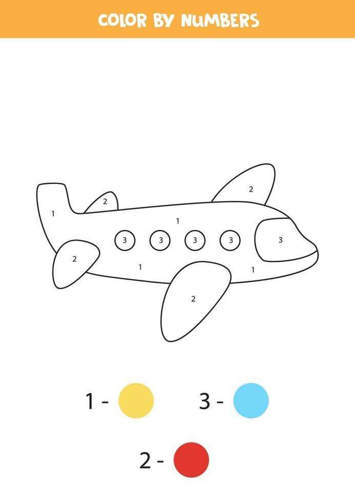Coloriage avec avion de dessin animé. coloriez par des nombres. jeu de mathématiques pour les enfants. vecteur