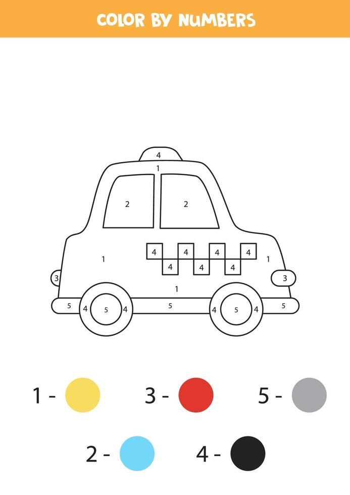taxi de dessin animé de couleur par numéros. feuille de calcul de transport. vecteur