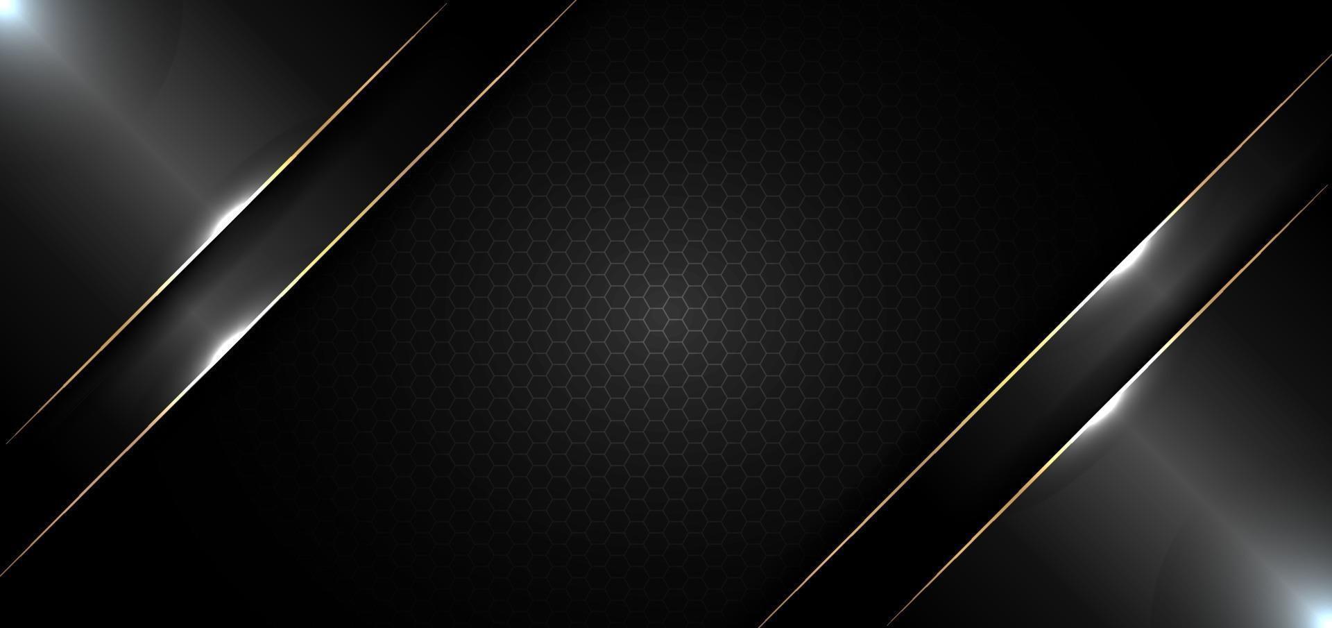 modèle de conception de bannière abstraite noir brillant avec ligne d'or et effet d'éclairage sur fond sombre et texture vecteur