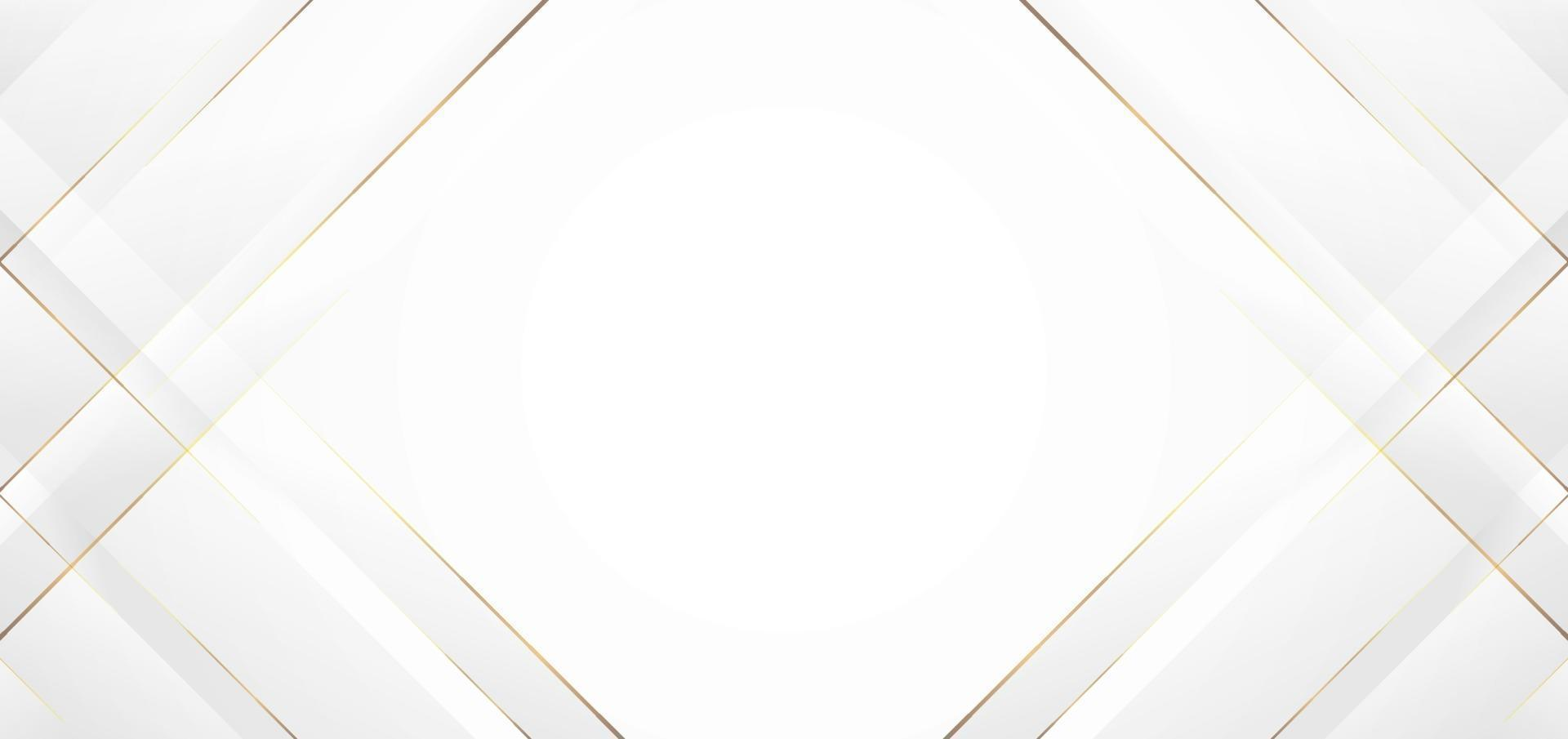 style de papier découpé abstrait moderne fond blanc avec ligne dorée vecteur