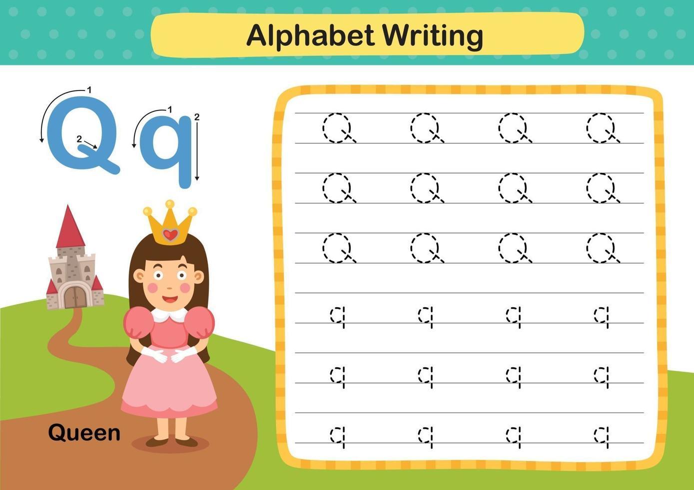 alphabet lettre q-queen exercice avec illustration de vocabulaire de dessin animé, vecteur