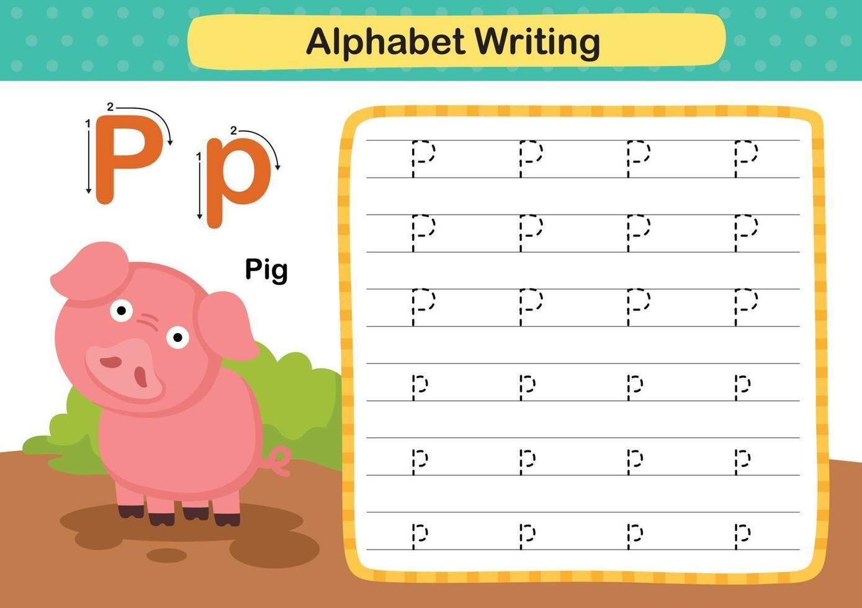 alphabet lettre p-cochon exercice avec illustration de vocabulaire de dessin animé, vecteur