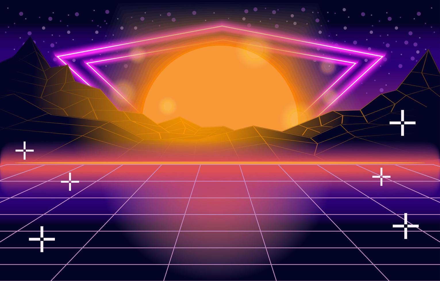 jeu de néon rétro vecteur