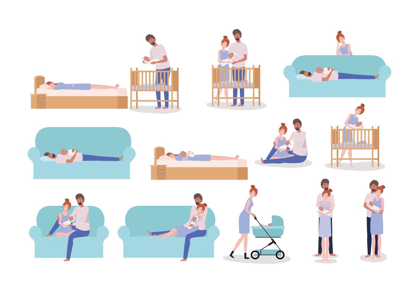 parents prenant soin de l & # 39; ensemble bébé nouveau-né vecteur