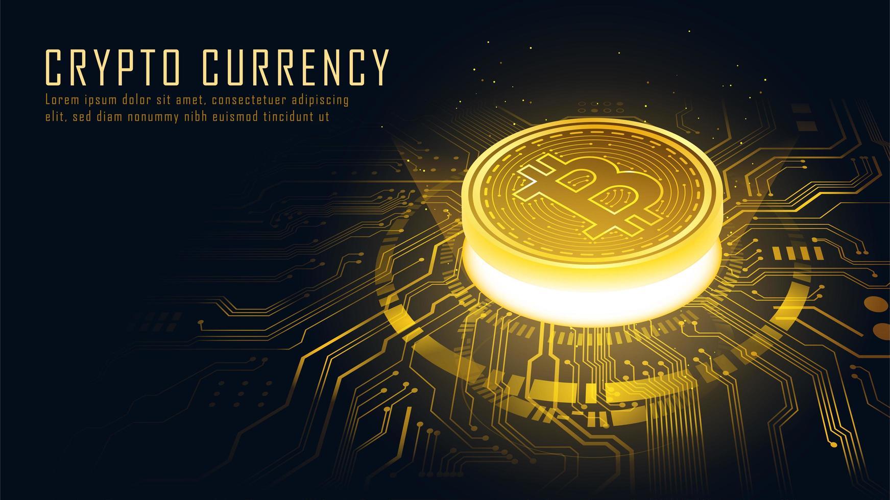 concept isométrique de la technologie blockchain bitcoin doré vecteur
