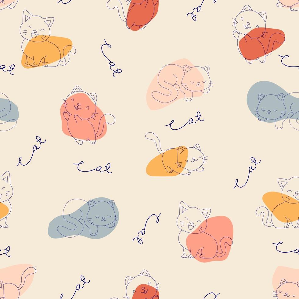 modèle sans couture de chat dessiné à la main et forme abstraite. vecteur