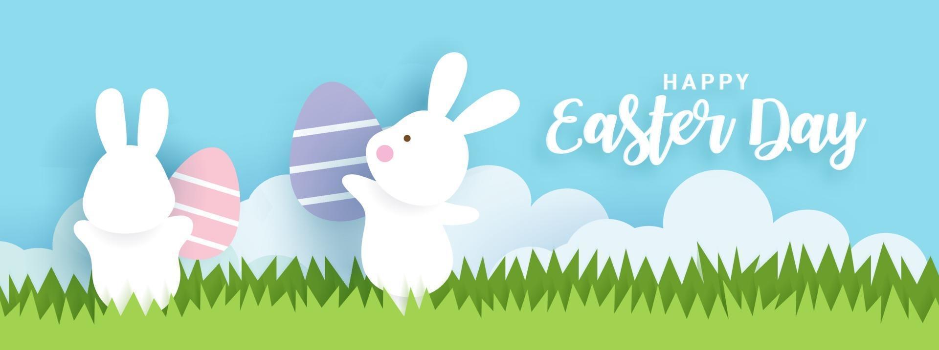 bannière et fond de jour de Pâques. vecteur