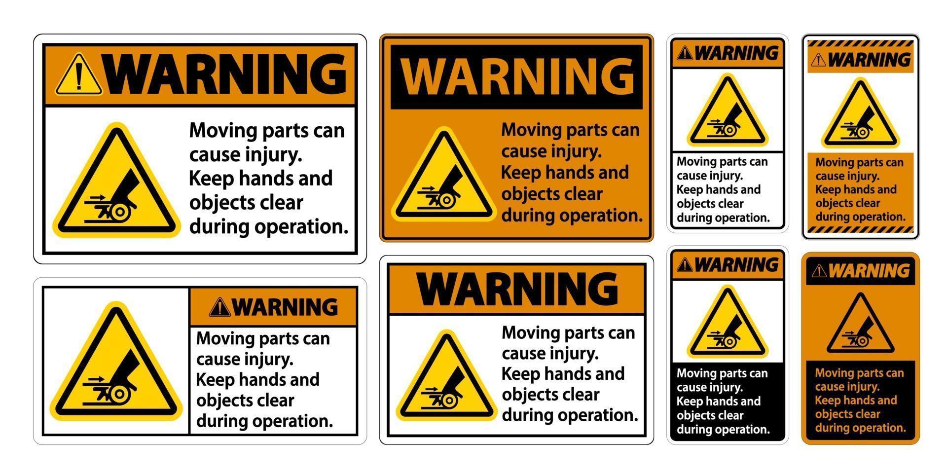 Ensemble de panneaux d'avertissement de pièces mobiles vecteur