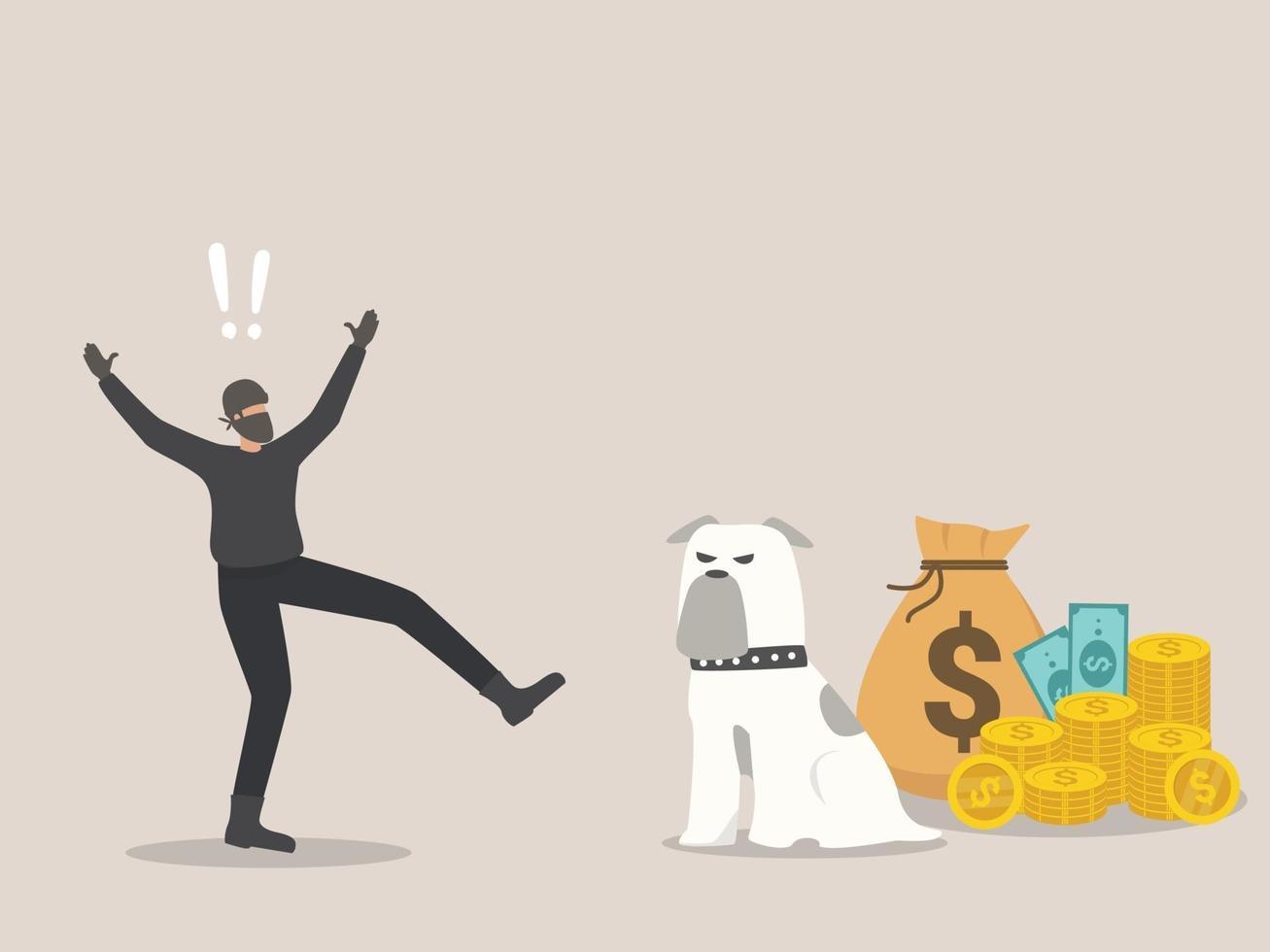 concept de sécurité économique, les voleurs ont peur des chiens de garde. vecteur