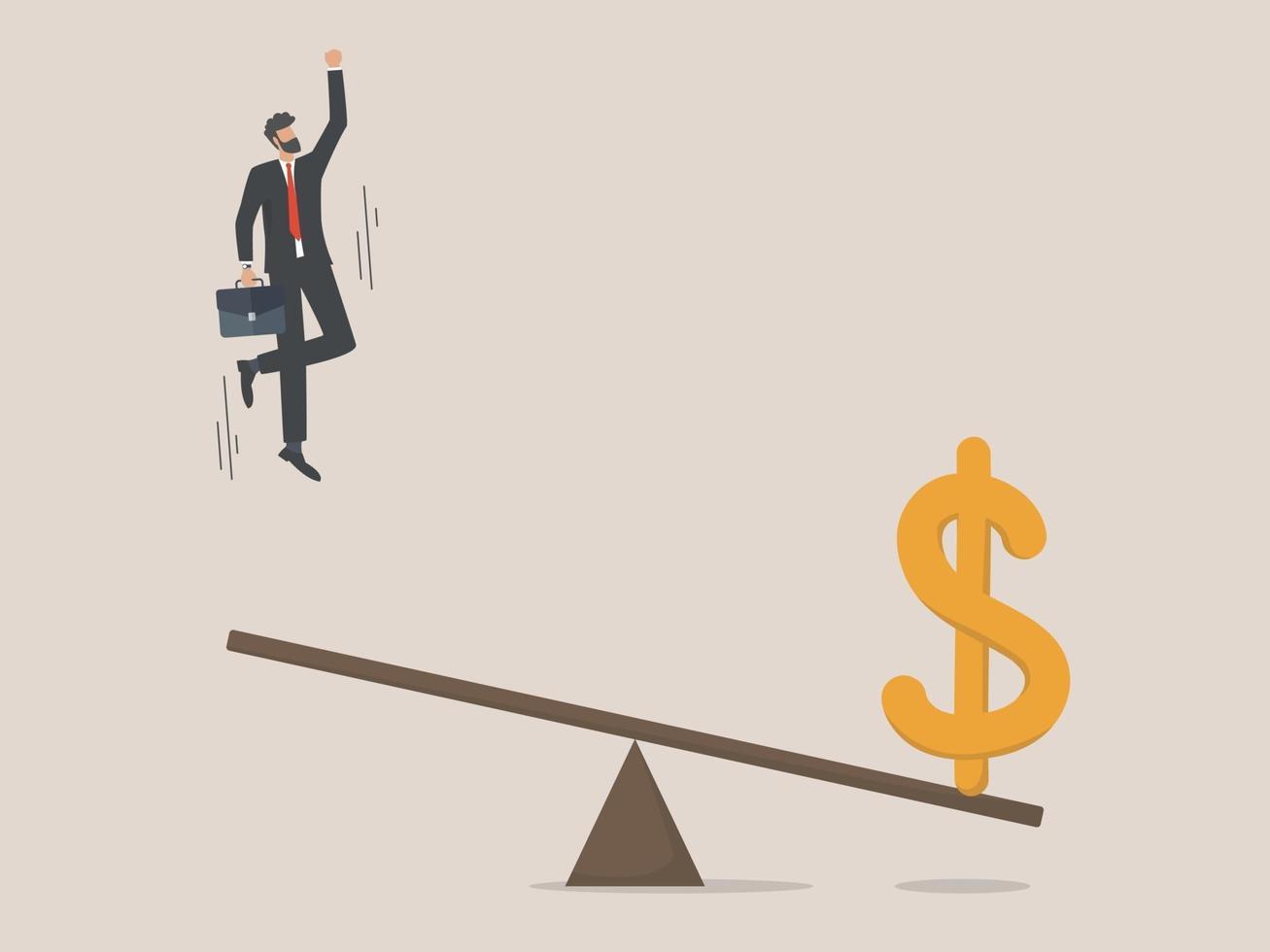 investissement commercial et réalisation de bénéfices, homme d'affaires prospère vecteur