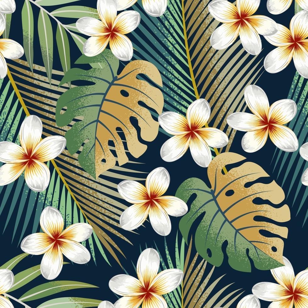 modèle sans couture avec fleurs tropicales et feuilles fond exotique. vecteur